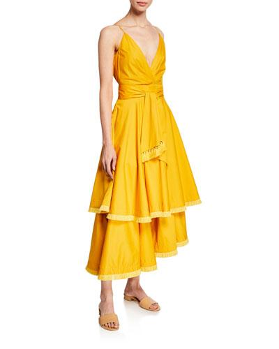 V-Neck Stretch Poplin Dress
