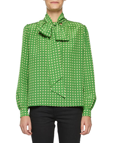 4b849363ce5ac2 Quick Look. Saint Laurent · Tie-Neck Star-Print Silk Blouse
