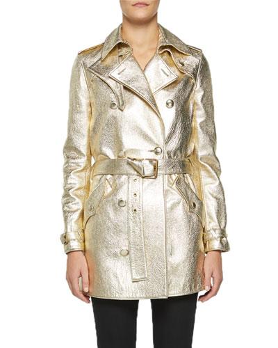 Metallic Leather Trench Coat