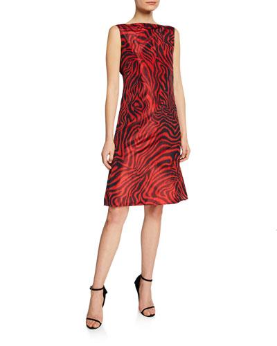 Animal-Print Sleeveless V-Back Dress