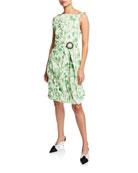 CALVIN KLEIN 205W39NYC Sleeveless Crushed Floral Taffeta Dress