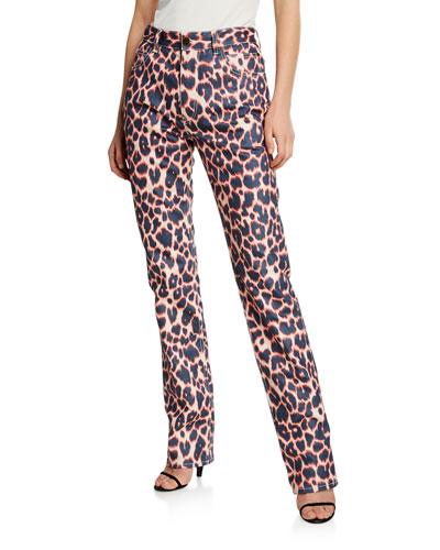 Animal-Print Straight-Leg Jeans