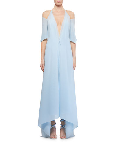 Ballard Cold-Shoulder Chiffon Handkerchief Dress