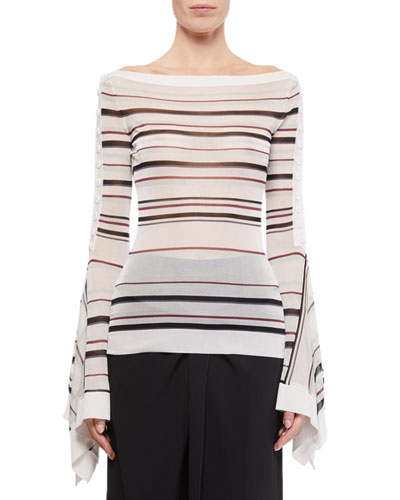 Biboca Sheer Striped-Knit Bell-Sleeve Top