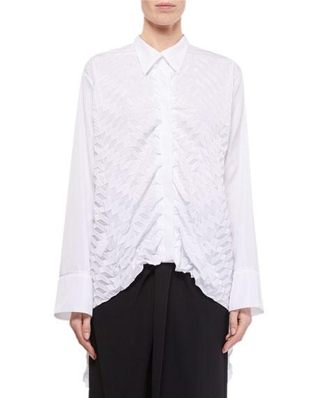 Roland Mouret Catalina Long-Back Button-Front Shirt