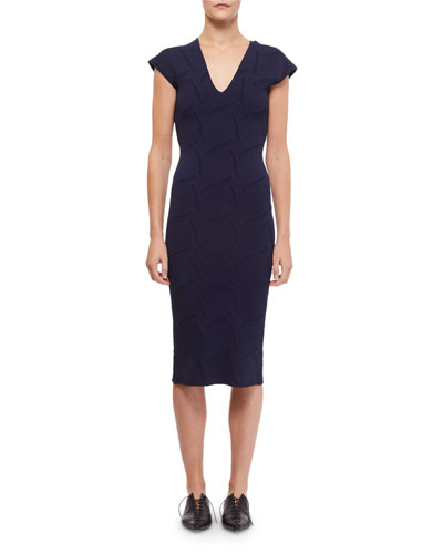 Dorada Knit Cap-Sleeve Dress