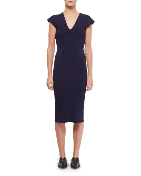 Roland Mouret Dorada Knit Cap-Sleeve Dress