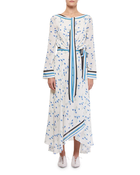 Roland Mouret Fernandina Tie-Neck Printed Handkerchief Dress