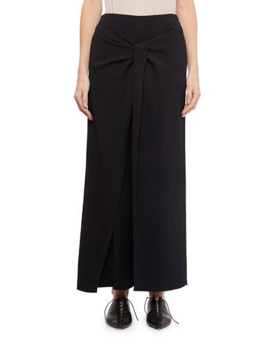 Fenwick Wide-Leg Twist-Front Crepe Pants