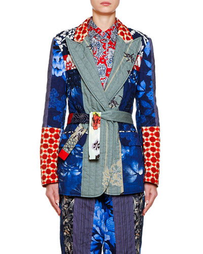 Cotton-Quilt Patchwork Blazer