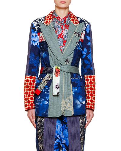 Cotton-Quilt Patchwork Blazer