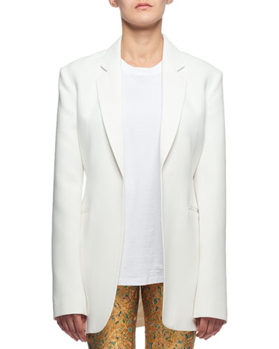 Notched-Lapel Oversized Open-Front Long Jacket