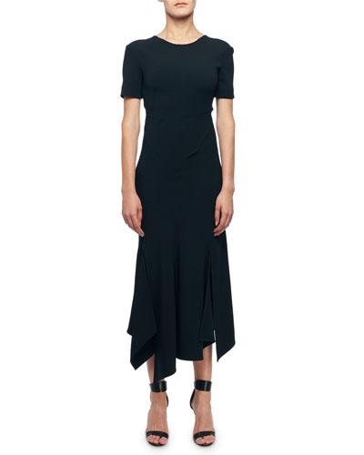 Short-Sleeve V-Back Asymmetric Dress