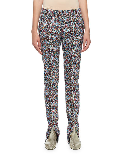 Floral-Print Skinny Trousers