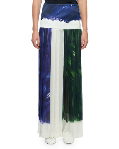 Paint Brush-Print Pleated Maxi Skirt