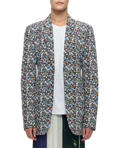 Mini Floral-Print Blazer Jacket