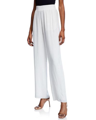 Wide-Leg Lightweight Cupro Pants