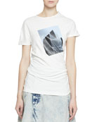 Proenza Schouler Short-Sleeve Building Patch Twisted T-Shirt