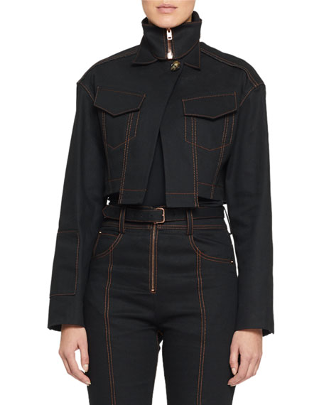 Proenza Schouler Cropped Denim Motocross Jacket