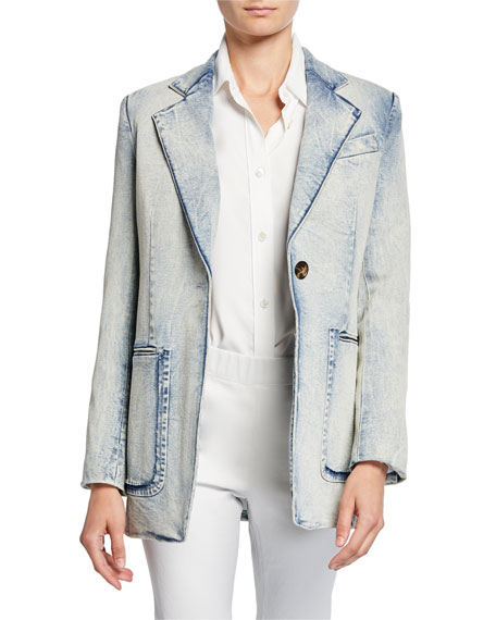 Proenza Schouler Acid-Washed Denim Blazer