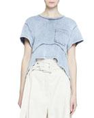 Proenza Schouler Short-Sleeve Acid-Washed Pocket T-Shirt