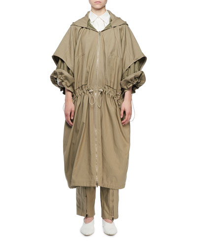Zip-Front Washed Cotton Caban Coat