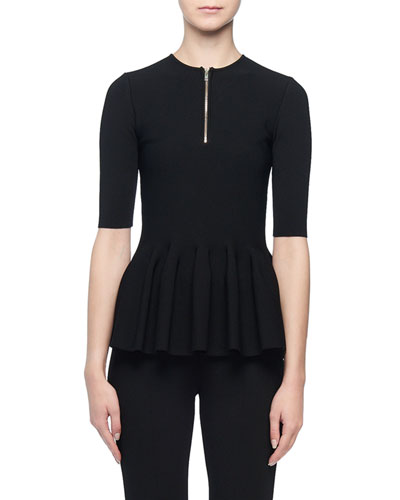 Short-Sleeve Zip-Front Peplum Top