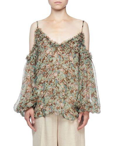 Cold-Shoulder Meadow Floral Print Blouse