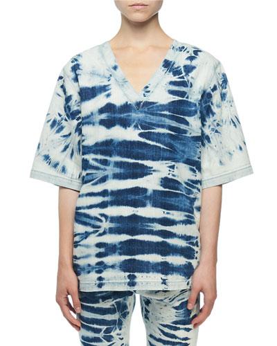 Short-Sleeve Tie-Dye Denim Blouse