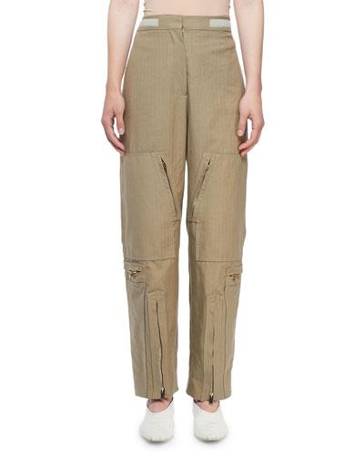 Washed Herringbone Cotton Modified Cargo Pants