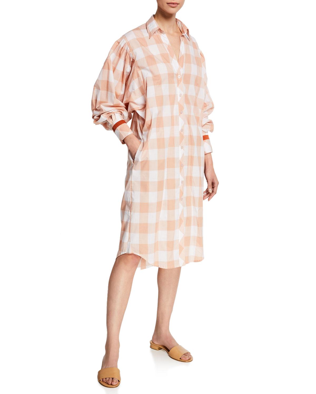 Seasonal Shades Plaid 1/2-Sleeve Shirtdress in Pink/White