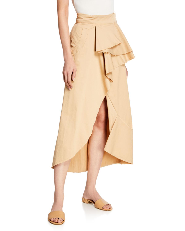 Ruffle-Front Wrap Skirt