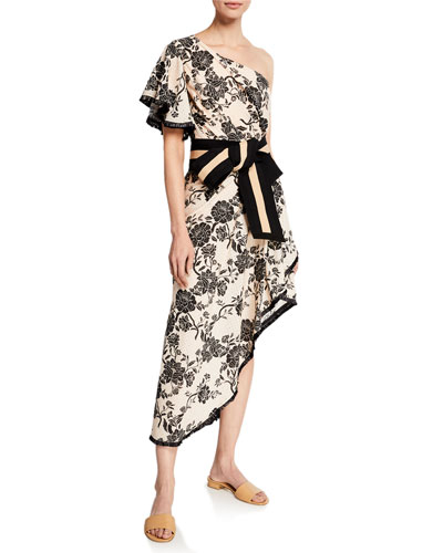 The Mysterious Pacific One-Shoulder Tapestry Foulard Dress