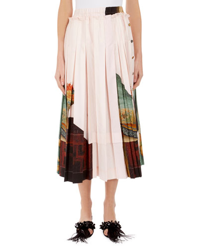 Lady Print Pleated Knee-Length Skirt