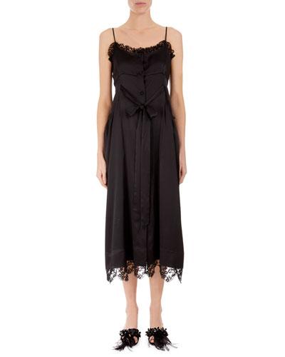Lace-Trim Tie-Waist Slip Dress
