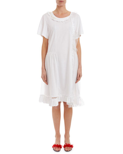 Short-Sleeve Tulle-Overlay T-Shirt Dress