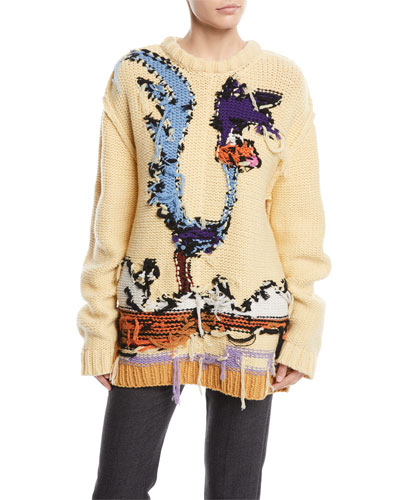 Looney Tunes Road Runner Crewneck Inverted-Stitch Wool Sweater