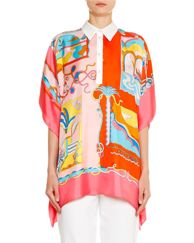 Sunrise Short-Sleeve Collared Cape Top