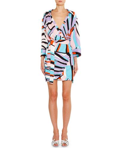 Striped Long-Sleeve Wrap Mini Dress