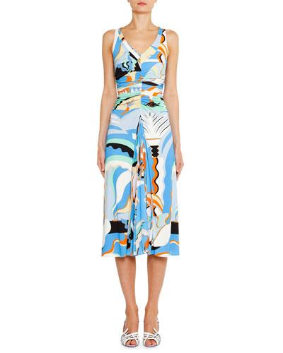 V-Neck Ruched-Waist Midi Dress