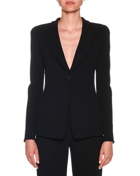 Giorgio Armani One-Button Jersey Long Jacket