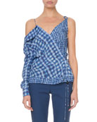 Altuzarra Nola One-Sleeve Gingham Blouse and Matching Items