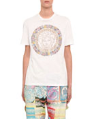 Versace Crystal Floral-Print Short-Sleeve T-Shirt
