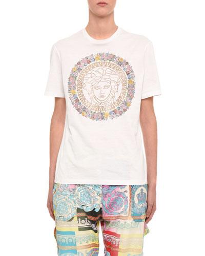 Crystal Floral-Print Short-Sleeve T-Shirt