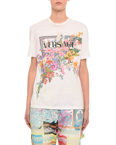 Short-Sleeve Floral Logo Graphic Tee