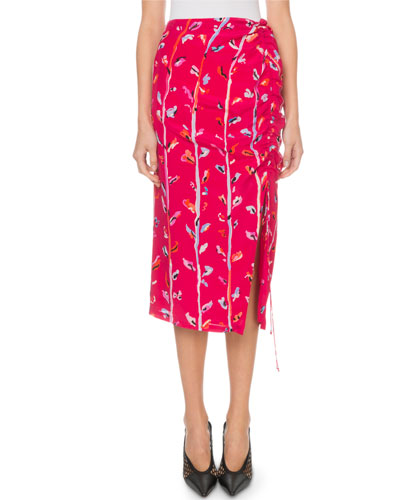 Fausto Painterly-Floral Print Skirt
