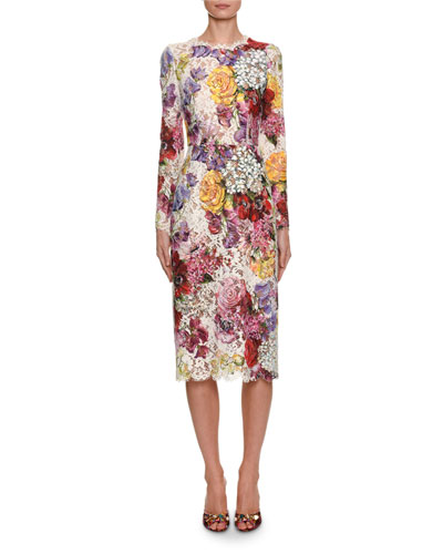 Long-Sleeve Floral Print Lace Midi Dress