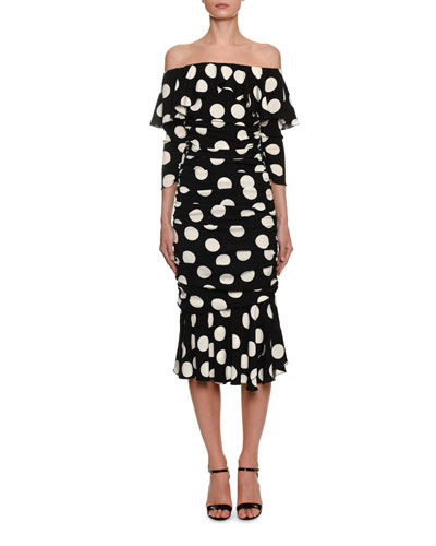 Off-the-Shoulder Polka-Dot Midi Dress