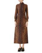 Gucci Leopard-Print Cady Midi Dress