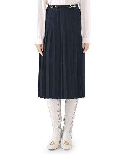 ed2ed6a5ae Quick Look. Gucci · Leather-Belted Sable Wool Pleated Skirt